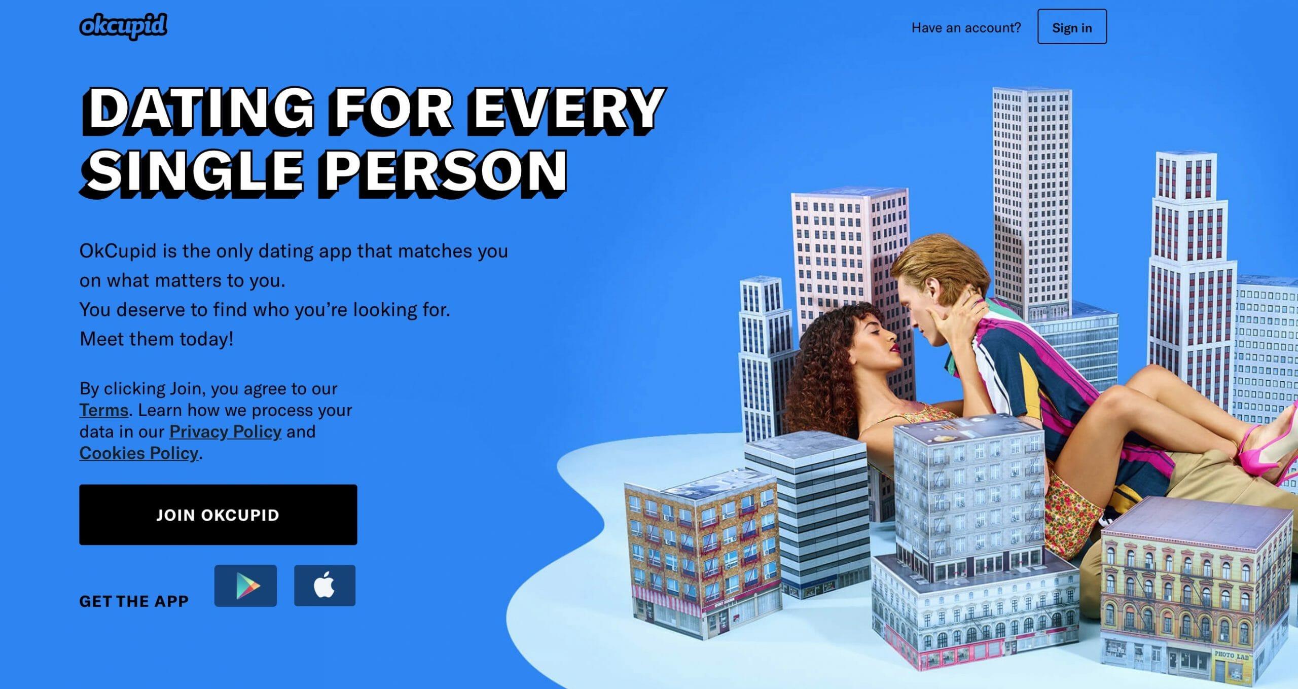 OkCupid main page
